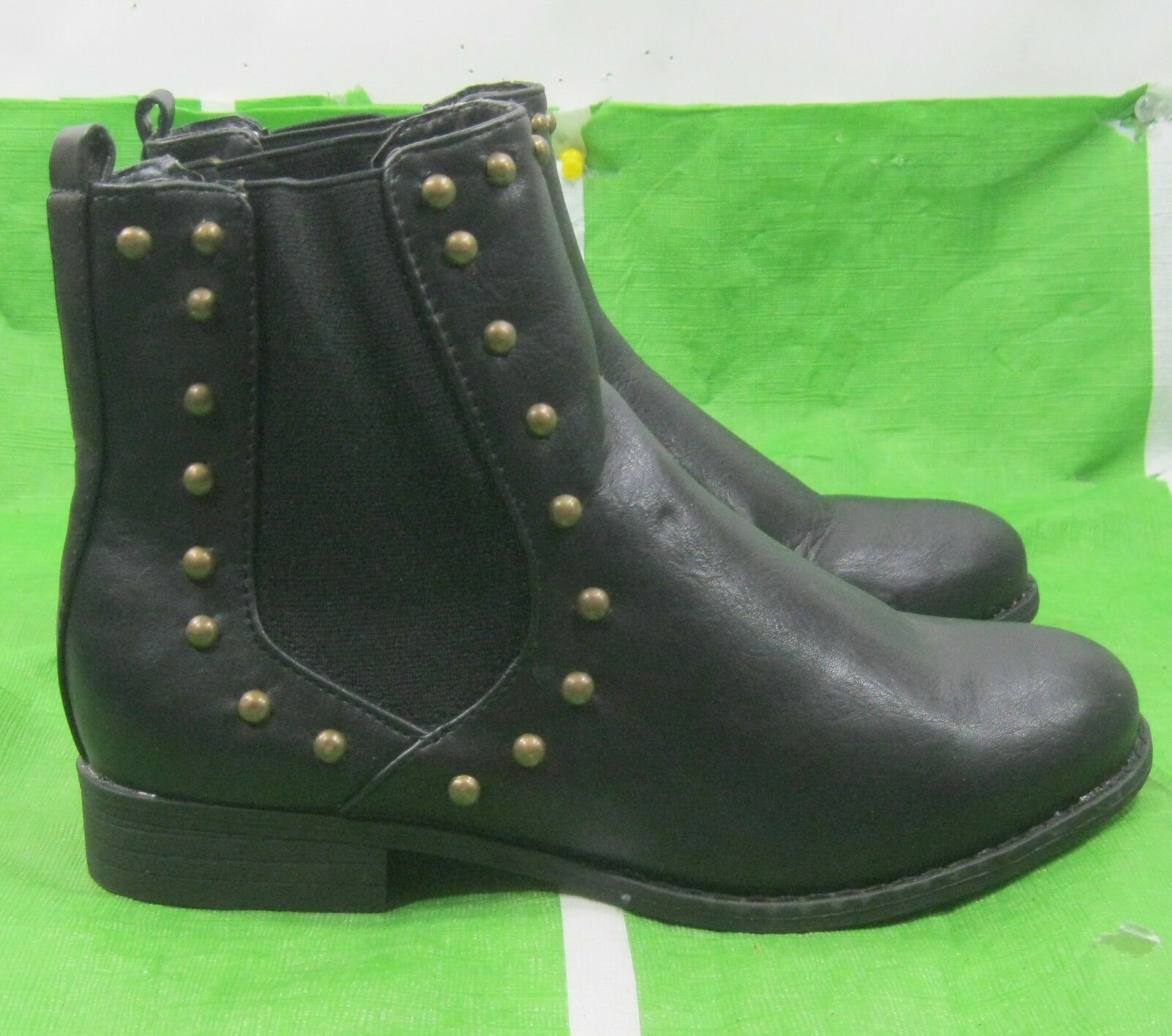 """new ladies Black 1""""block Heel  gold stud side elastic  Sexy Ankle Boot Size 7.5"""