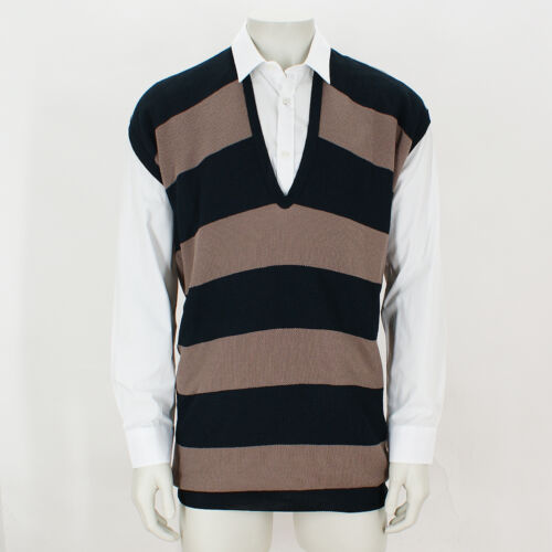 NEW Lanvin Navy and Beige Striped Knitted Tank Top GENUINE RRP £600 BNWT