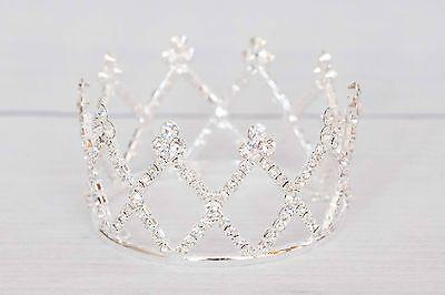 Mini Tiara Crown for Newborn - Baby Photo Prop Crystal and Rhinestone Round 4001