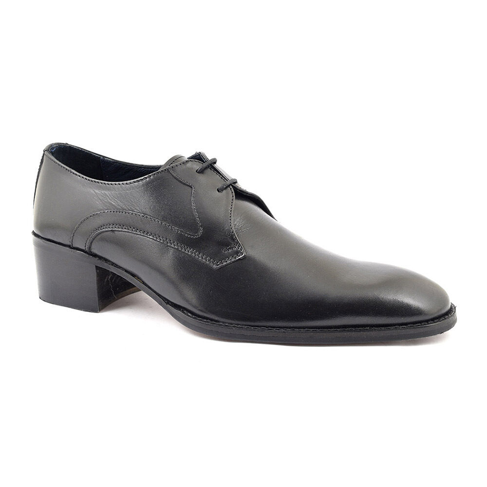 Gucinari Leandro Black Leather Men'S Classic Shoes Lace Up Derby Heel Round Toe