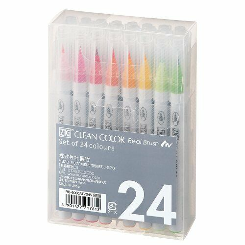 New Kuretake ZIG Clean Color Real Brush 24 colors Calligraphy pen from Japan