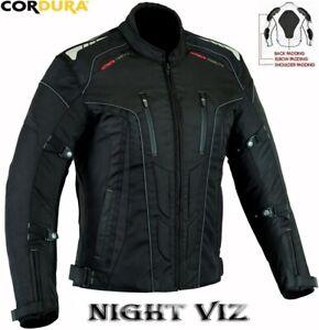 NIGHT-VIZ-MENS-BLACK-CE-ARMOUR-QUILT-LINED-MOTORBIKE-MOTORCYCLE-TEXTILE-JACKET