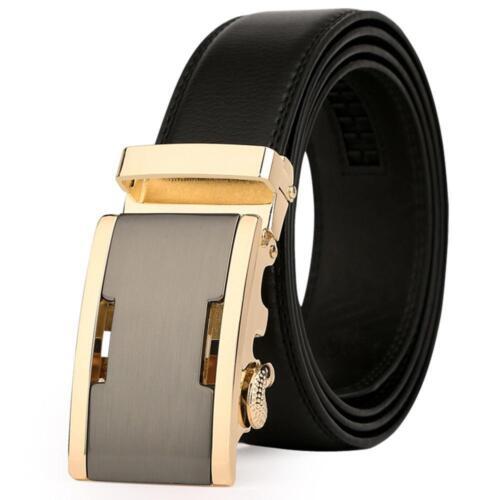 Men Suit Trouser Genuine Leather Gold Belt Business Cowhide Metal Buckle