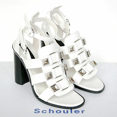 PROENZA SCHOULER $975 white high heel gladiator studded sandal shoes 37/7 NEW