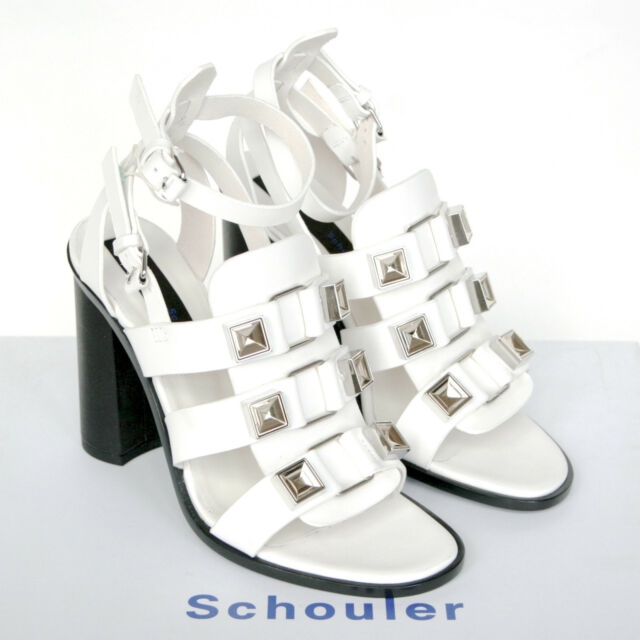 PROENZA SCHOULER $975 white high heel gladiator studded sandal shoes 37/7 NEW
