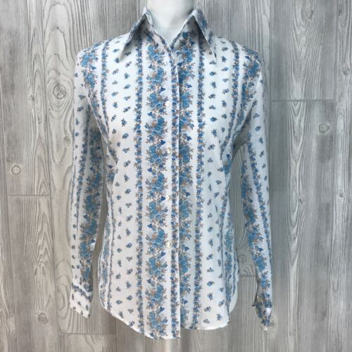 Vtg Top Dress Shirt Button Up 60's 70's Collar Cot