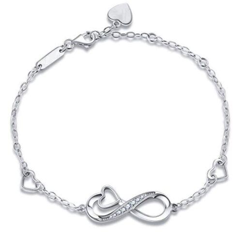 925 Silber Damen Infinity Armband Unendlichkeit Armkette Ewigkeit mit Herzen