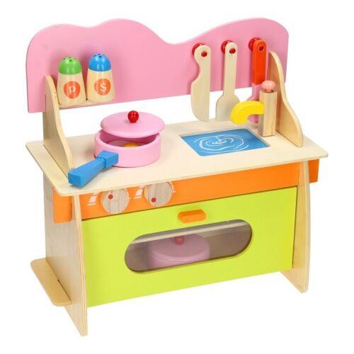 Cucina per Bambine Bimbe 10 Pezzi Gioco Giocattolo in Legno Kitchen Multicolore