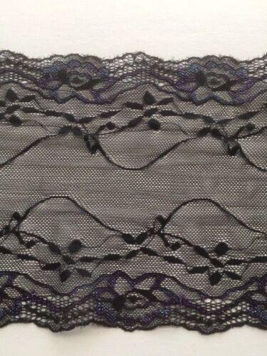 "laverslace Black Purple//Green Floral Wide Stretch Lace Trim 7.5/""//18.5 cm Sewing"