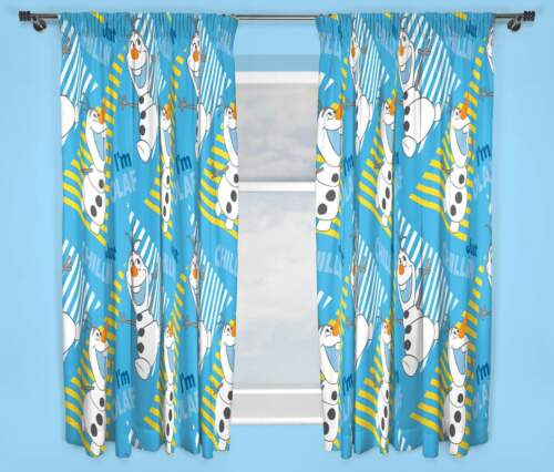 """DISNEY FROZEN OLAF CHILLIN/' CURTAINS 66/"""" x 72/"""" INCH DROP BOYS AND GIRLS BEDROOM"""
