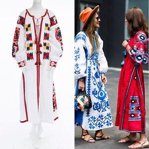 9f1ee0bf0a6 new VITA KIN white linen boho aztec embroidery tassel maxi kaftan ...