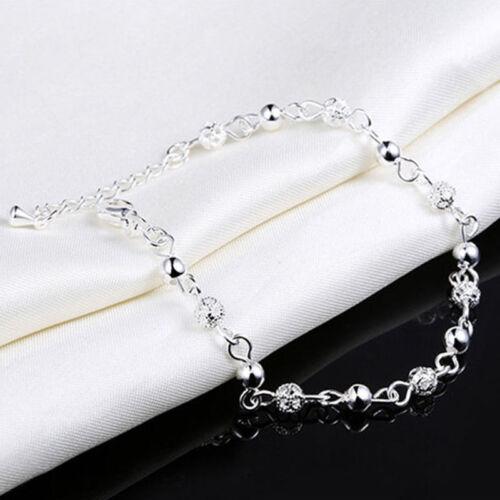 Women Elegant Silver Plated Crystal Chain Bangle Cuff Charm Bracelet Jewelry