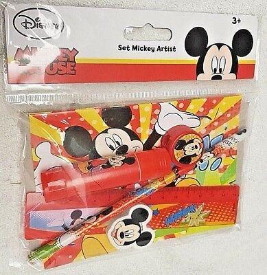 Set Arte Mickey Mouse Gomma Lapis Colla Righello Appunta - Disney Topolino Nuovo