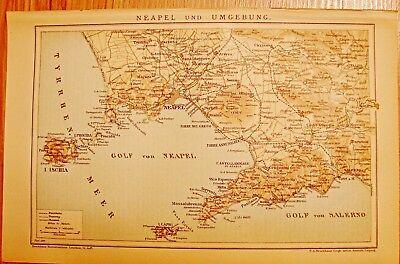 Begeistert Historische, Alte Stadtkarte 1898 Neapel Und Umgebung. Stadtplan Farbig/212