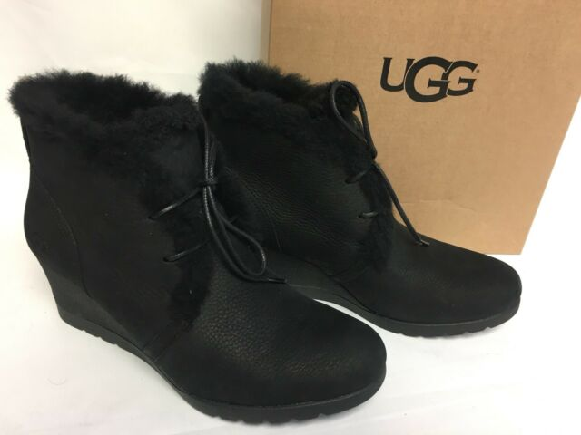 de68a92ddde UGG Australia Jeovana Boots Black Suede Waterproof WP 1017421 Wedge Lace Up