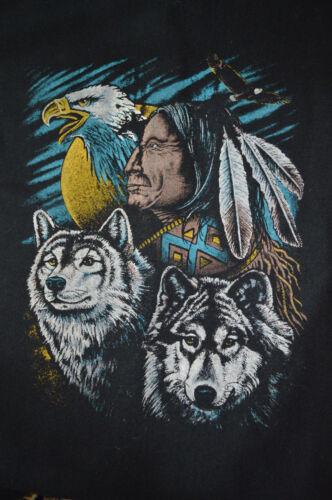 Hommes Vintage Années 90 Occidental Aztèque Indien Loups Aigle Laine Flanelle