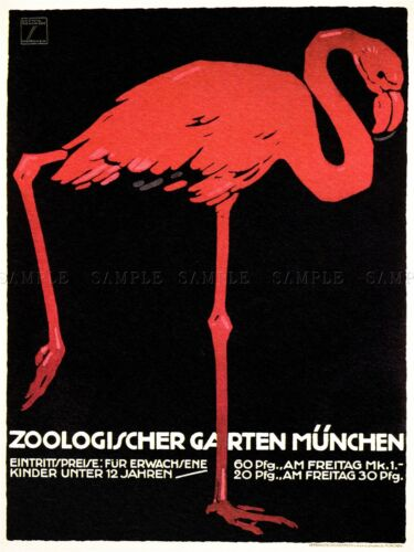 CULTURAL ZOO FLAMINGO MUNICH BAVARIA ANIMAL BIRD EXHIBIT POSTER 1637PYLV