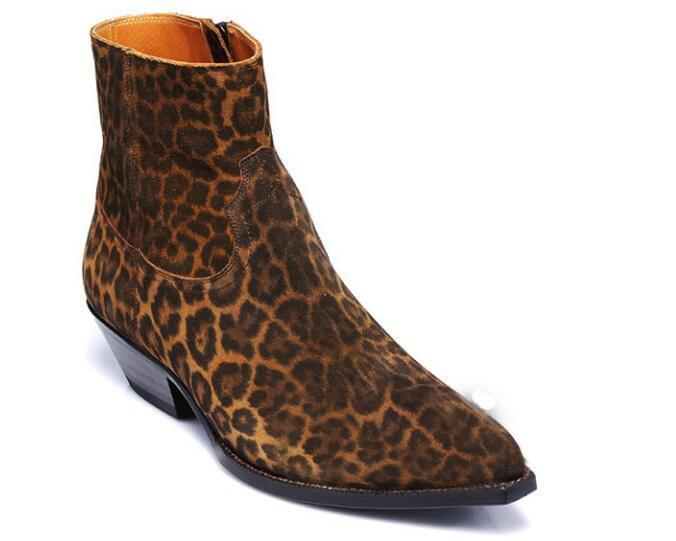 Hot Para Hombre Bloque Tacón Chelsea botas al Tobillo Zapatos De Gamuza Estilo Retro Leopardo Moda