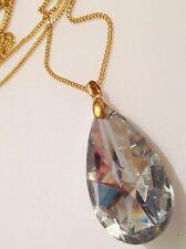collier pendentif vintagecouleur or grosse goutte de verre facette diamant 346