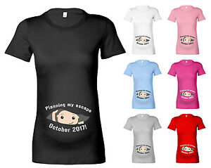 395ec58be5bb5 Image is loading PERSONALISED-PLANNING-MY-ESCAPE-BABY-DESIGNER-MATERNITY-T-