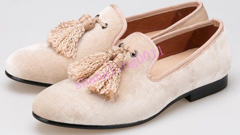 Sh men's  Rope Tassel Flat heels Velvet British Slip on Loafers Casual Hot pumps
