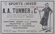 PUBLICITE A.A TUNMER SPORT D'HIVER SKI NEIGE CHAUSSURE VETEMENT DE 1917 AD PUB