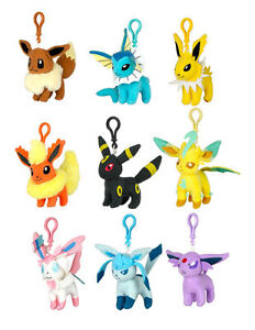 Image Is Loading Official 2017 Tomy Pokemon Eevee Evolution Plush Keychains