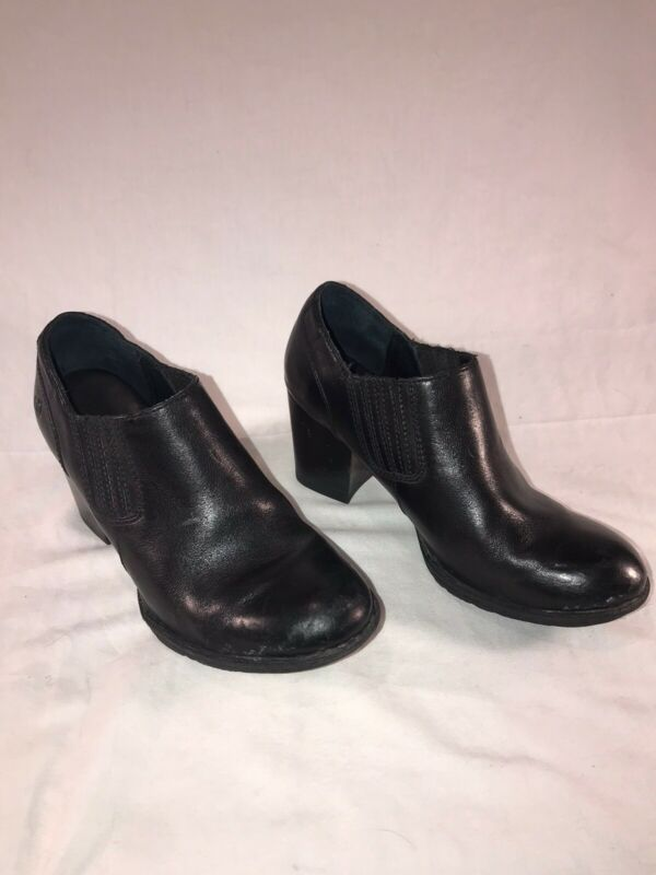 Born Black Leather Breckin Booties Ankle Boots W32405 Size Us 6 Eu 36.5