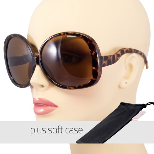 Huge Extra Oversized Large Womens Vintage Round Sunglasses LightTorto FREE POUCH
