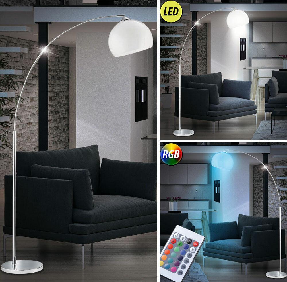 RGB LED Bogen Steh Leuchte Fernbedienung Wohn Zimmer Chrom Lese Lampe Big Light