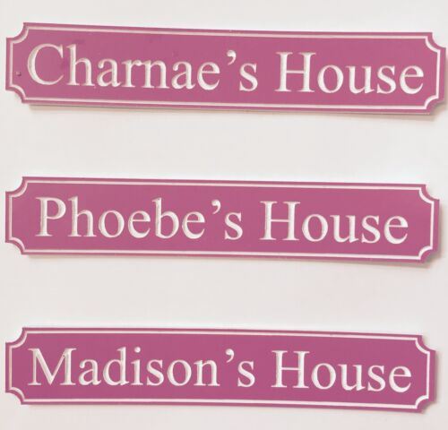 PERSONALISED DOLLS HOUSE STREET NAME SIGN PINK BARBIE WOODEN CHILDRENS TOYS GIFT
