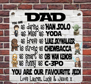 Personalised Star Wars Jedi Dad Father's Day Gift Metal Hanging Plaque Wall Sign