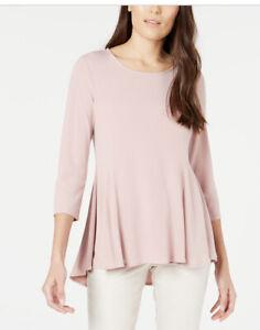 Alfani-Womens-Blouse-Clay-Pink-Size-Medium-M-Jersey-Peplum-Scoop-Neck-59
