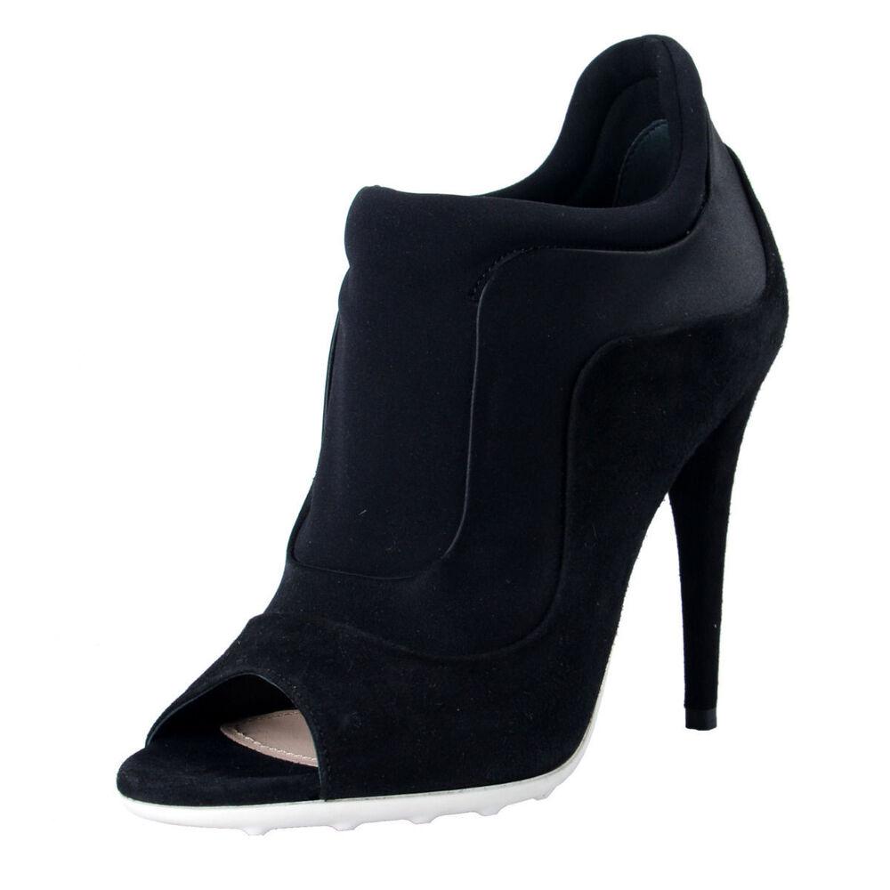 DéVoué Miu Miu Femmes Daim Noir Bout Ouvert Cuir Bottines Bottes Chaussures 5 6