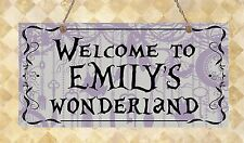 Alice in Wonderland personalised Bedroom Door Sign Welcome Gift Present Plaque