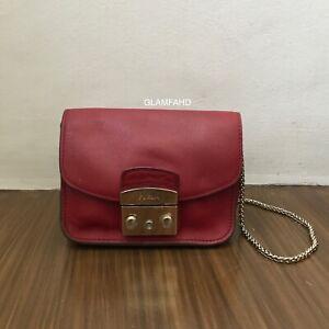 Pre-Owned-Authentic-FURLA-Metropolis-Red-Chain-Shoulder-Sling-Bag