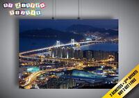 Poster Corée Du Sud By Night Nuit Bridge Pont