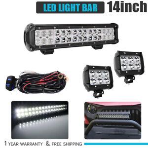 4D 14INCH 72W LED LIGHT BAR WORK SPOT FLOOD BEAM CAR BOAT DRIVING Toyota SUV