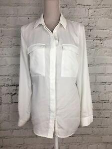 Womens-Shirt-Next-White-Long-Sleeve-Soft-Blouse-Sheer-Soft-Size-UK-12-US-8
