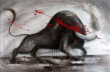 Modern Art Leinwand Gemälde Acrylbild Malerei Bild - Wilder Stier - Martin Klein