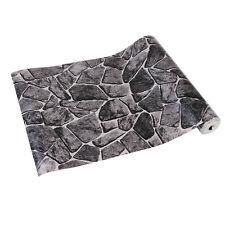 10M Black Rustic Vinyl Embossed Textured Rock 3D Effect Stone Wallpaper Roll