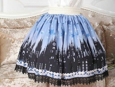 Cosplay Gothic Lolita Fantasy Castle Print  Princess Skirt with black lace