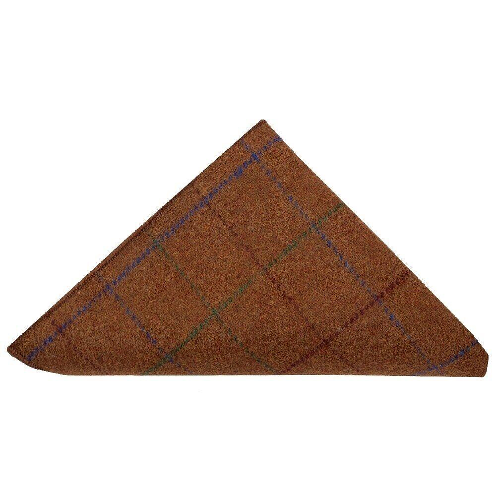 Light Brown large Check Tweed Pocket Square Tweed Pocket Handkerchief