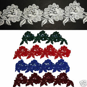 "3.5"" White Ivory Red Blue Green Rose Embroidery Sequins Beaded Organza Lace Trim"