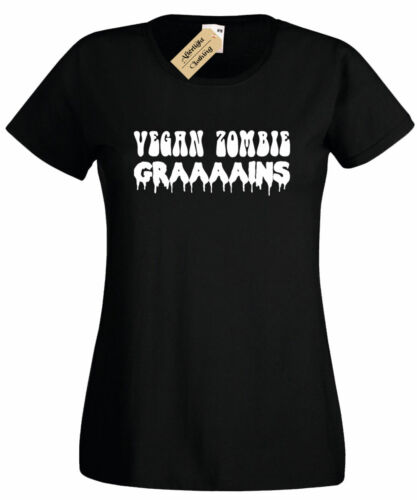 Womens Vegan Zombie Graaains T Shirt Grains funny joke vegetarian gift ladies