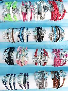 $0.8 each, US SELLER - 50 pcs wholesale infinity bracelet friendship charm