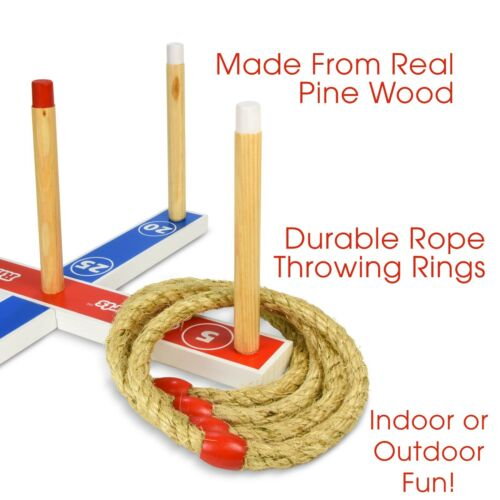 Traditional Wooden Ring Toss Rope Play Set Outdoor Indoor Kids Game w Carry Case