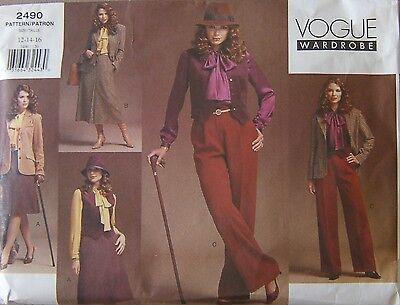 Vogue Wardrobe Sewing Pattern 2490 Petite 12 14 16 Jacket Vest Blouse Skirt Pant