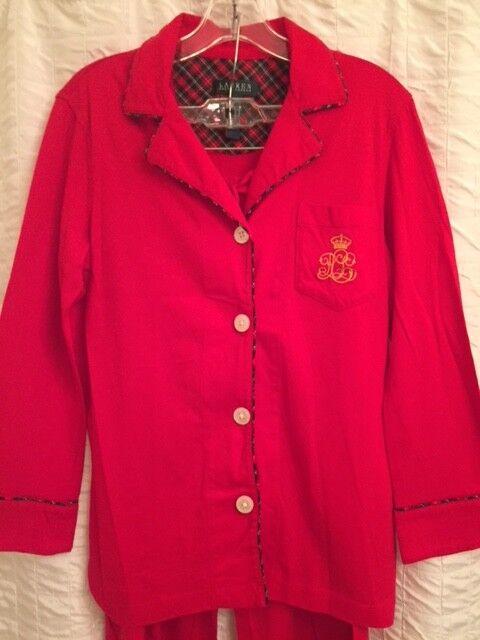 Ralph Lauren Women's Red Pajama Set Tartam Plaid Detailing Size Small  Brand New