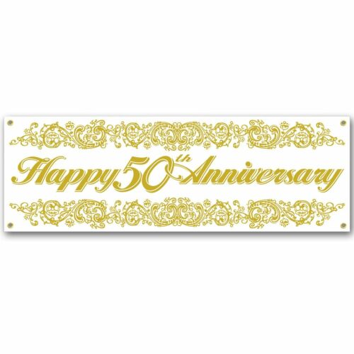 Jumbo Happy 50th Anniversary Sign Banner Party Accessory 5 ft x 21 inch